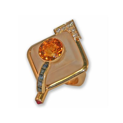 14K YG Citrine ring with Sapphires and Diamonds